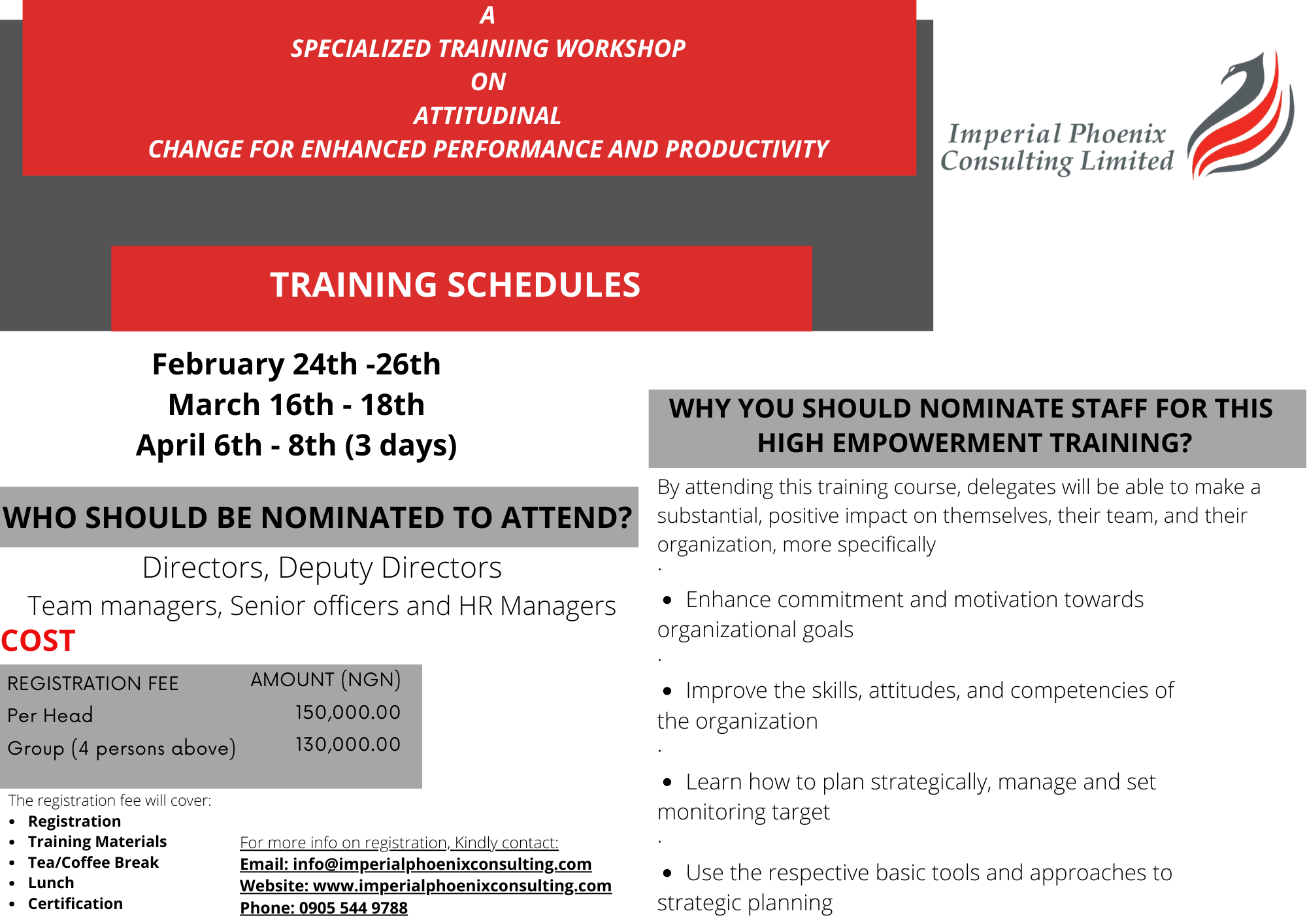 A SPECIALIZED TRAINING WORKSHOP ON ATTITUDINAL CHANGE FOR ENHANCED PERFORMANCE AND PRODUCTIVITY